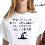 Funny Halloween White T-shirt For Women (Sparkles) Handcrafted