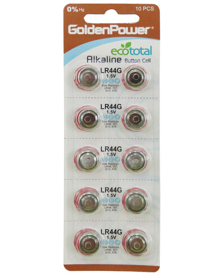 New AG13 1.5V Button Cell Mercury Free Battery - Card of 10