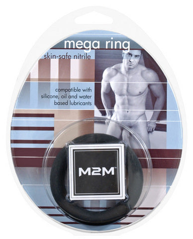 M2M Mega Nitrile Cock Ring - Medium Black