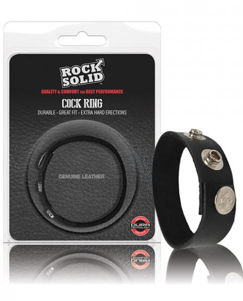 Rock Solid Leather 3 Snap Cockring - Black