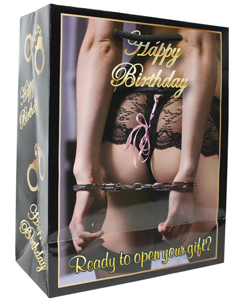 Happy Birthday Women w/Hands Cuffed Behind Her Back Gift Bag