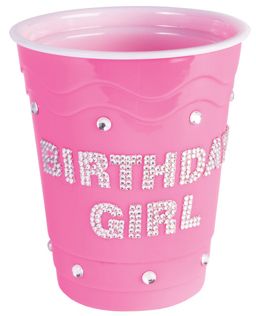 Birthday Girl Plastic Cup w/Clear Stones - Pink