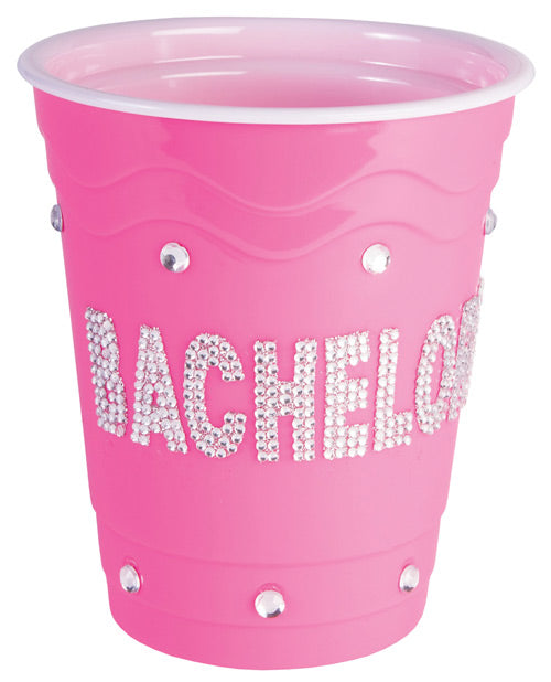 Bachelorette Pink Plastic Cup w/Clear Stones - Pink