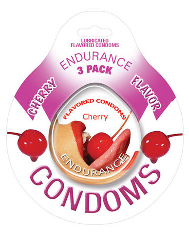 Endurance Flavored Condom - Cherry Pack of 3