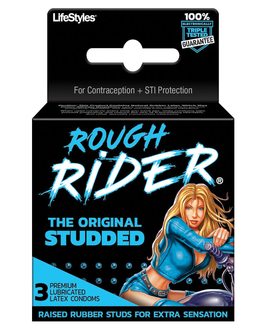 Rough Rider Studded Condom Pack - Pack of 3