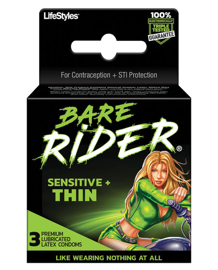 Bare Rider Thin Condom Pack - Pack of 3