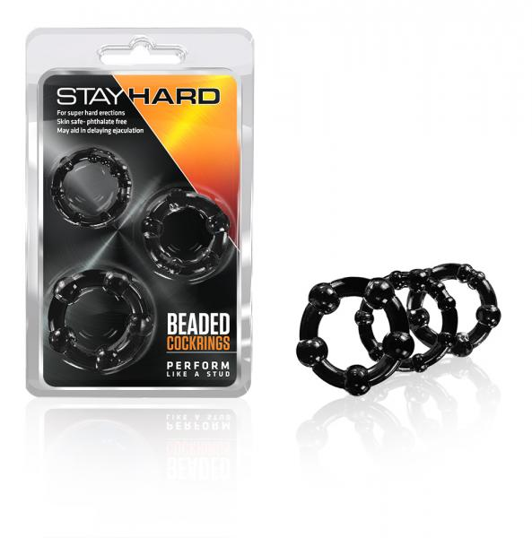 Blush Stay Hard Beaded Cock Rings 3 Pack - Black
