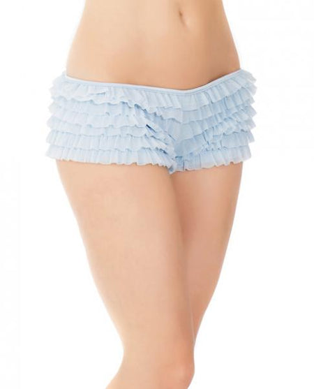 Ruffle Shorts w/Back Bow Detail Blue XXL
