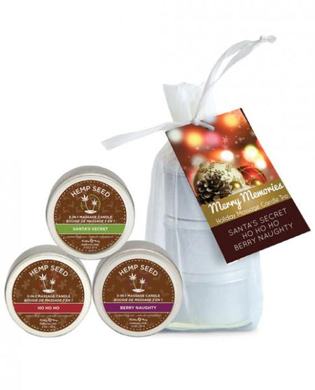 Earthly Body Holiday 3 in 1 Candle Trio - 2 oz Bag Naughty, Ho & Santa