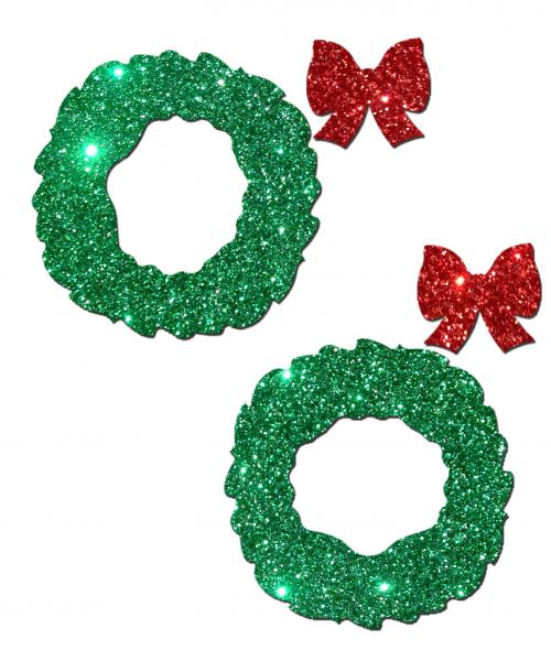 Pastease Glitter Wreath w/Bow Nipple Covers - Red O/S