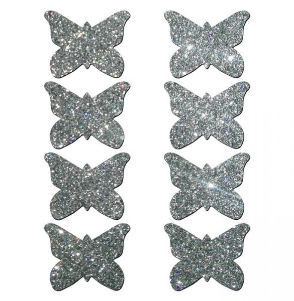Pastease Petites Glitter Butterfly - Silver O/S Pack of 8
