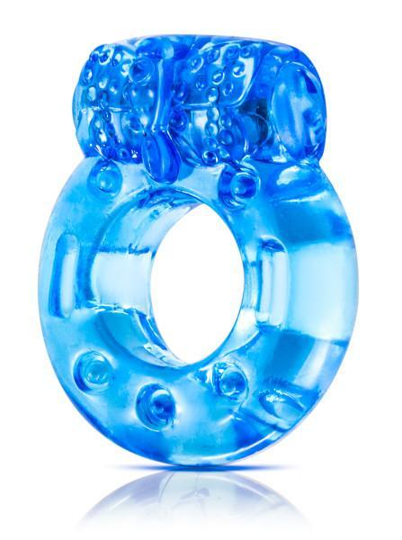Blush Stay Hard Vibrating Reusable Cock Ring - Blue