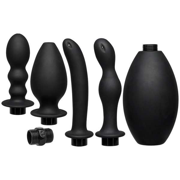 Kink Flow Flush Silicone Anal Douche & Accessories - Black
