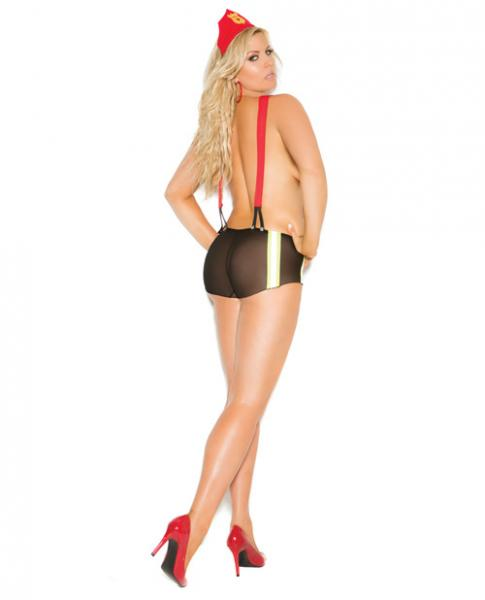 Vivace Put Out My Fire Mesh Booty Shorts w/Attached Suspenders & Head Piece Black QN