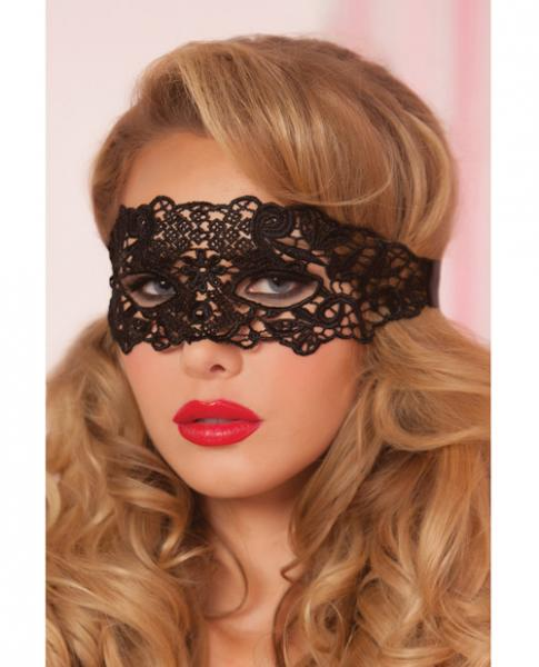 Lace Eye Mask w/Satin Ribbon Ties Black O/S