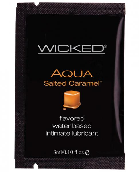 Wicked Sensual Care Aqua Waterbased Lubricant - .1 oz Packet Salted Caramel