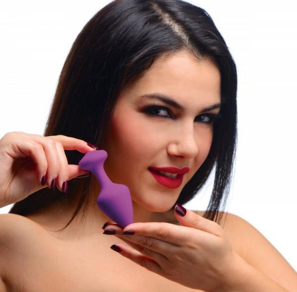 Frisky Pleasures Silky Silicone Anal Plugs - Purple Pack of 3