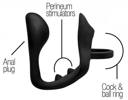 Prostatic Play Excursion Silicone Triple Stim Anal Plug w/Cock & Ball Ring