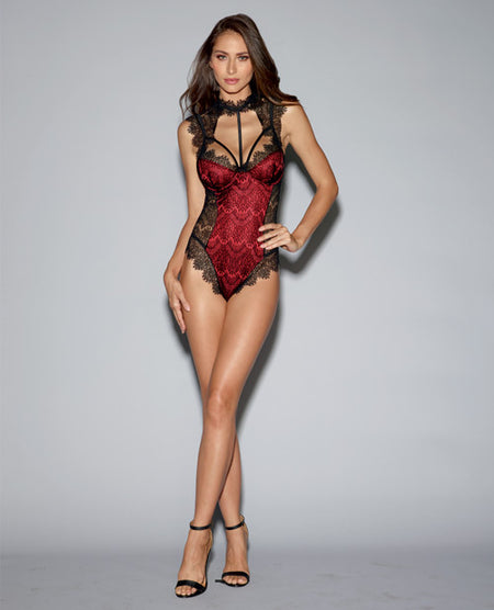 Stretch Satin Teddy w/Underwire Cups & Lace Overlay Tie Back Collar & Snap Crotch Black/Red MD