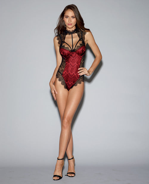 Stretch Satin Teddy w/Underwire Cups & Lace Overlay Tie Back Collar & Snap Crotch Black/Red XS