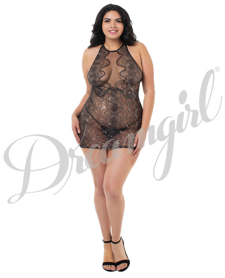 Sheer Stretch Mesh Chemise w/Plunge Front Panel, Adjustble Strapping, Low Back Black 2X