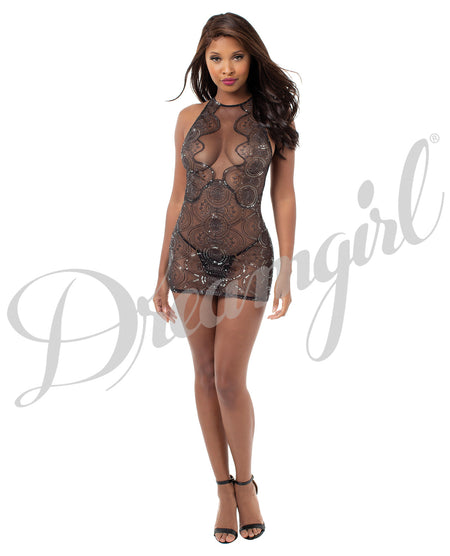 Sheer Stretch Mesh Chemise w/Plunge Front Panel, Adjustble Strapping, Low Back Black XS