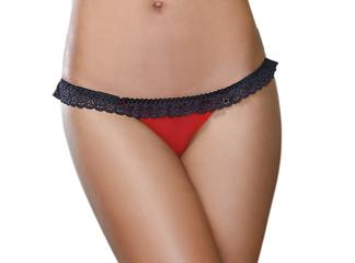 Stretch Mesh w/Spandex & Stretch Lace Open Back Panty Black/Red SM