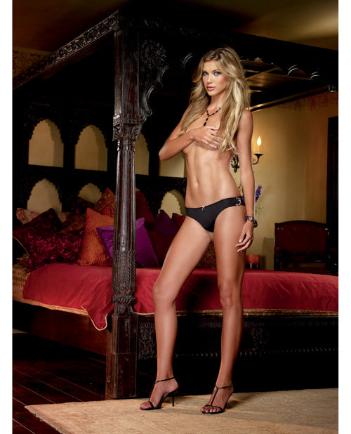 Microfiber Cheeky Panty w/Cross Dye Lace Back & Satin Bow Trim Black/Gold X Large