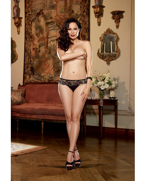 Cross Dye Lace & Microfiber Thong Black/Gold 3X/4X