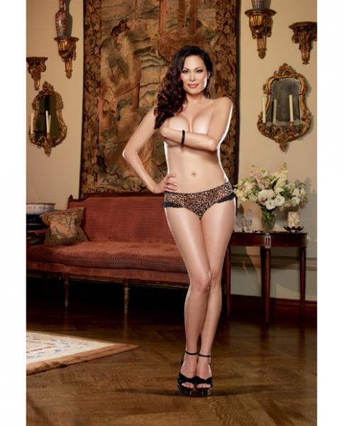 Leopard Print Stretch Mesh w/Spandex Open Heart Back Cheeky Panty Leopard 1X/2X MFG OUT OF INV