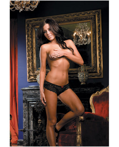 Stretch Lace Open Crotch Short Black SM