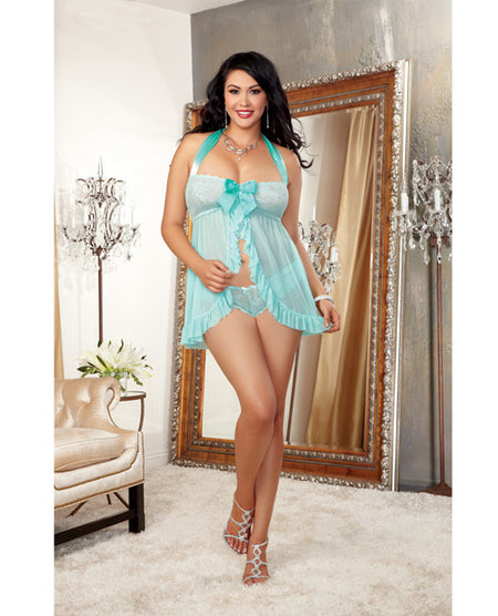 Stretch Lace Galloon Halter Babydoll w/Satin Bows & Lace Tanga Panty Aqua 1X/2X