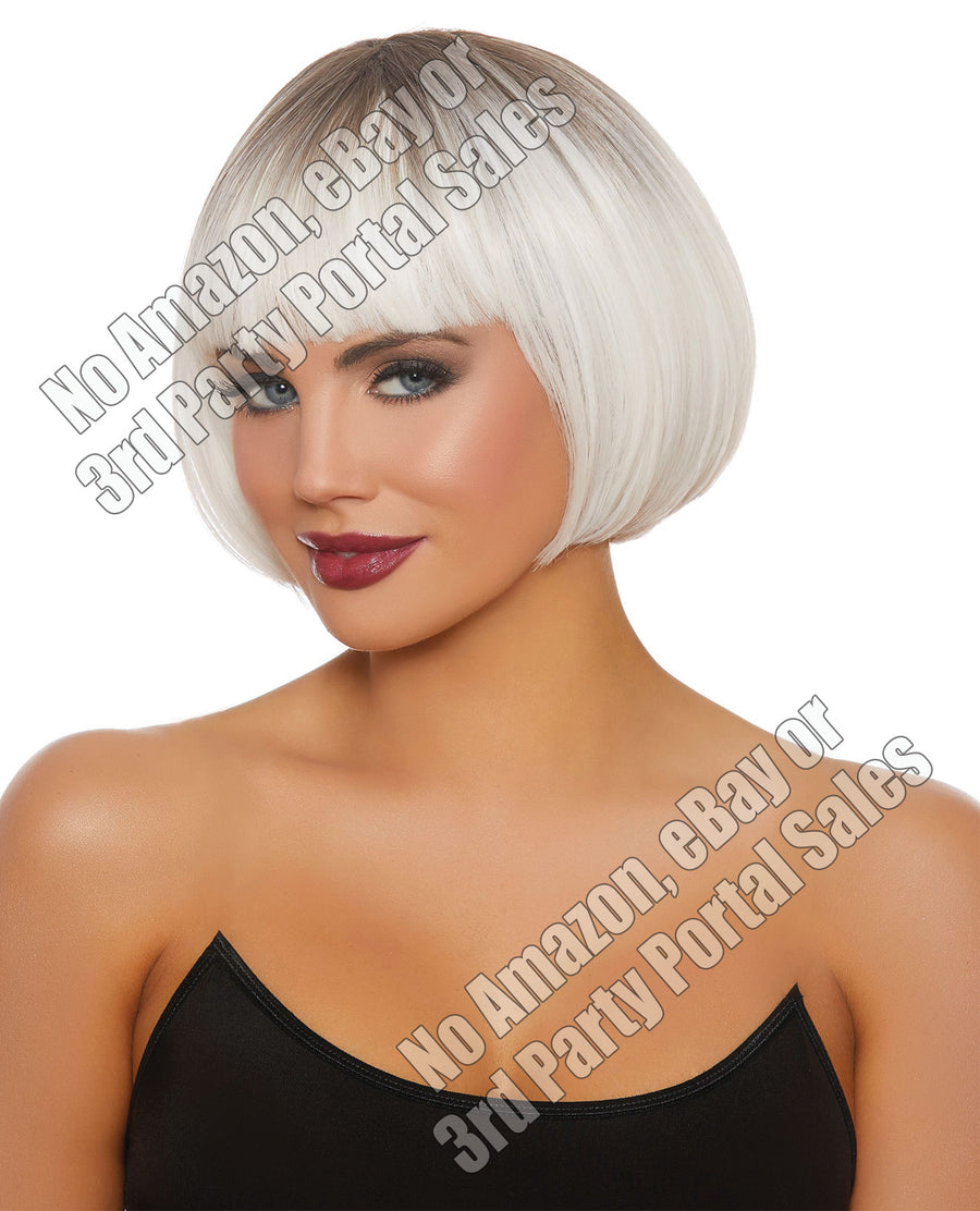 Dip Dye Short Bob Wig - White/Gray