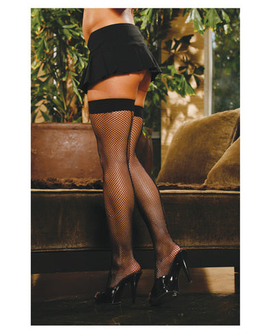 Fishnet Thigh Highs w/Back Seam Black O/S
