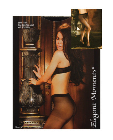 Sheer Crotchless Pantyhose Black O/S
