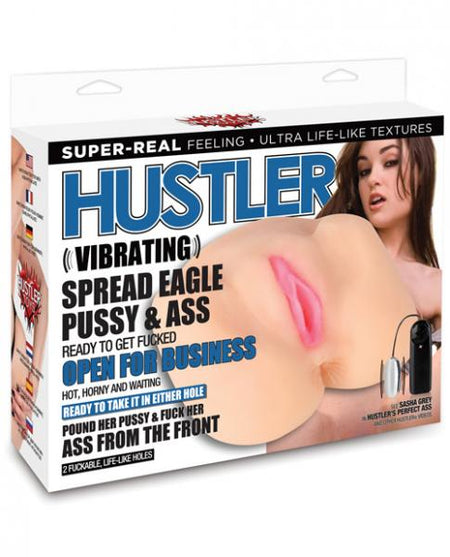 Hustler Toys Sasha Grey Vibrating Spread Eagle Pussy & Ass w/2 Holes