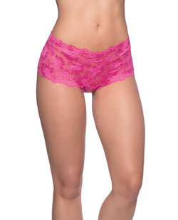 Goodnight Lace Crotchless Boyshort w/Elastic Detail Pink S/M