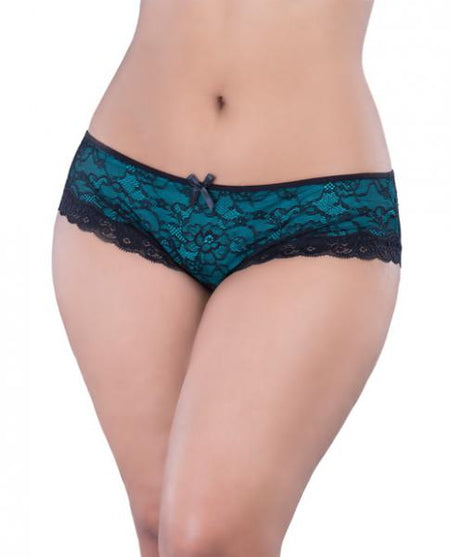 Cage Back Lace Panty Black/Teal  3X/4X