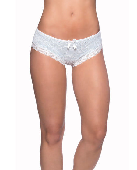 Cage Back Lace Panty White/Blue S/M