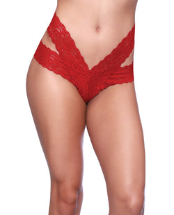 Goodnight Lace Dual Strap Thong w/Functional Tie Waistband Red QN