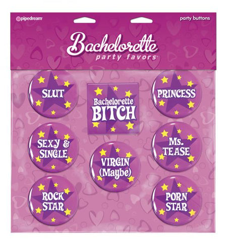 Bachelorette Party Favors Buttons - 8 Asst. Sayings