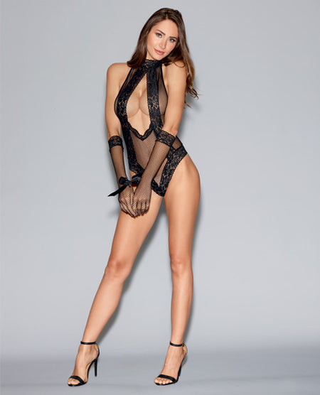 Seamless Fishnet Collared Teddy w/Tie-Neck Clsure G-Strng & Glves w/Tie Restraint Blk O/S