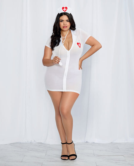 3 pc Stretch Mesh Chemise w/Front Zipper Hat & Stethoscope White/Red QN