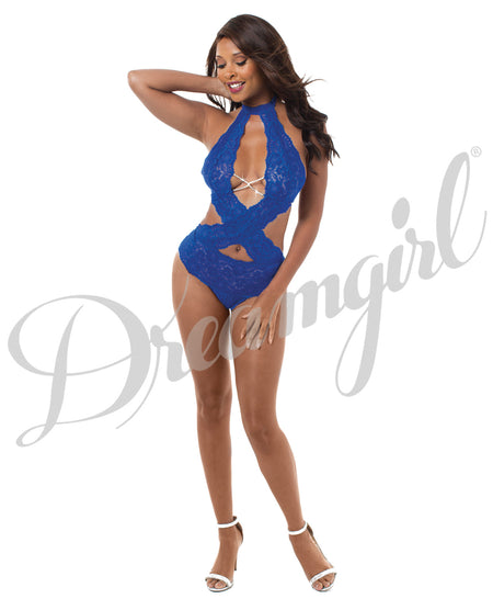Stretch Lace Crisscross Teddy w/Plunge Front, Attch. Collar Sapphire O/S