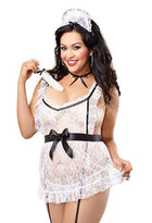 4 pc Lace Apron w/Attached Elastic Garters, G-String, Cap, Neck Ribbon & Tickler Black/White QN