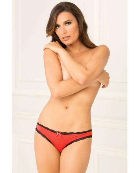 Rene Rofe Crotchless Lace V-Back Panty Red S/M