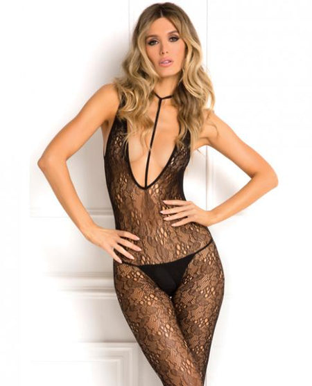 Rene Rofe Holy Plunge Harness Bodystocking Black O/S