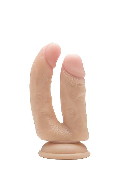 "zzShots RealRock 4.5"" Realistic Double Cock w/Suction Cup - Flesh"