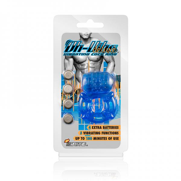 Ignite Oh-Vibe Deluxe Vibrating Cock Ring - Blue