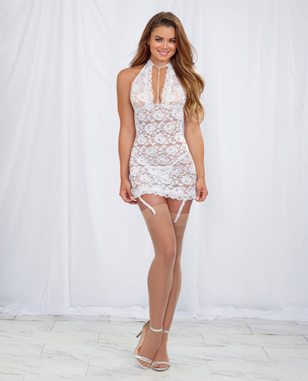 Stretch Lace Halter Chemise w/Removable & Adjustable Garters& G-String White O/S